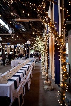 lighted trees for wedding reception / www.deerpearlflow...