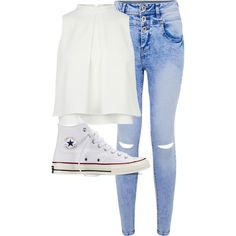 Untitled #1371 by anjaleea-fizzy on Polyvore featuring moda and Converse