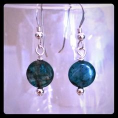 """Blue Quartz Earrings Beautiful  Blue Quartz Coin Shaped Gemstones with Sterling Silver Beads and Earwires . Very Pretty!  1 1/4"""" to top of wire Jewelry Earrings"""