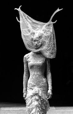 Dark Romance - ruffled dress & dramatic headpiece; sculptural fashion // Alexander McQueen