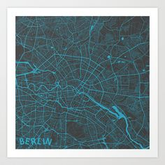 Berlin Map Art Print by Map Map Maps - $18.00---------------------------If you like my work, you can folllow my Facebook account : https://www.facebook.com/MapMapMaps