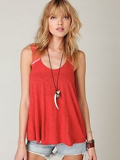 Mesh Back Button Tank at Free People Clothing Boutique - StyleSays
