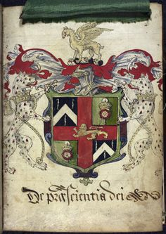 The arms of the guild of barber-surgeons of the city of York. Image taken from f. 6 of Guild Book of the Barber Surgeons of York, including its ordinances. Medieval World, Medieval Knight, Library Catalog, British Library, Illuminated Manuscript, Used Books, Coat Of Arms, Ancestry, Barber