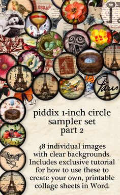Best Selling Sampler Set 1-inch circles Part Two -- 48 separate circles with clear backgrounds AND digital collage sheet -- piddix #printables 895b