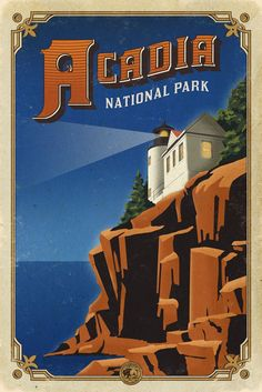 The Centennial Poster Series celebrates 100 years of National Parks in America. National Park Posters, National Parks Usa, Acadia National Park, Parc National, Voyage Usa, Rocky Shore, Park Art, Poster Series, Great Vacations