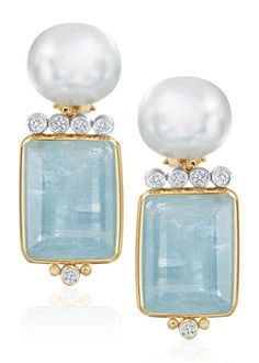 Freshwater Pearl Faceted Aquamarine Diamond and Gold Earrings
