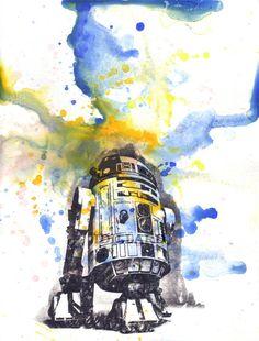 Star Wars Art R2D2 Watercolor Painting - Fine Art print 5 X 7in. Star Wars Art Poster Print