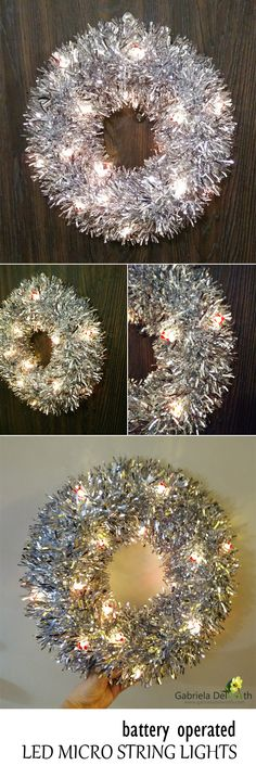 Decorate your Holidays: DIY lighted Wreath. Affordable, power saving and unique.
