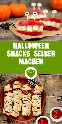 Scary Halloween recipes for a monster party- Here you will find simple and incredibly scary snacks for your Halloween party. Whether mummies sausages, bits or Gruselburger. So your Halloween party will be a mega hit - Scary Halloween Food, Halloween Snacks For Kids, Scary Food, Halloween Buffet, Hallowen Food, Fete Halloween, Halloween Treats, Kindergarten Halloween Party, Scary Scary
