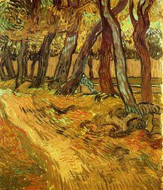 The Garden of Saint-Paul Hospital with Figure  - Vincent van Gogh