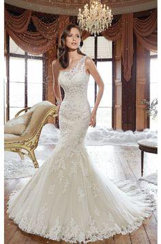 Asymmetrical Lace Gown