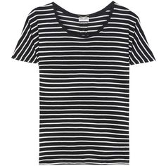Saint Laurent Striped Silk T-Shirt (€525) ❤ liked on Polyvore featuring tops, t-shirts, shirts, blusas, black, striped shirts, stripe shirt, shirt top, striped tee and t shirt