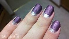 Silver and purple nail varnish