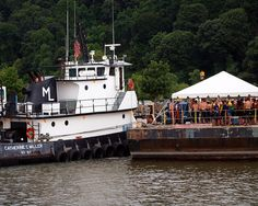 CATHERINE C MILLER Tug Boat with Floating Dock, 2012 New Jersey Hudson River Swim (NYC Ironman Triathlon Practice) by jag9889, via Flickr