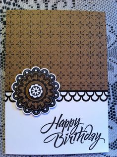 Birthday Card, Stampin Up Quint-Essential Flower, Martha Stewart punch, Hero Arts stamps. Modeled after a card I found and loved here:  http://kreativmomente.blogspot.de/2012/10/nebelsuppe.html
