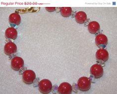 ON SALE Red Swarovski Pearl and AB Clear Crystal by EriniJewel, $14.00