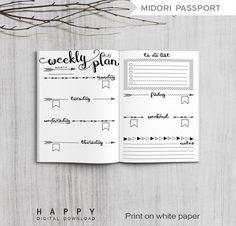 Printable Weekly Planner Midori Passport door HappyDigitalDownload