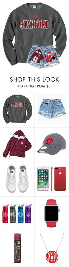 """""""color of the rainbow: red"""" by arieannahicks ❤ liked on Polyvore featuring New Era, Vans, Burt's Bees, Initial Reaction and Essie"""