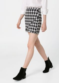 MANGO - CLOTHING - Skirts - Houndstooth wrap miniskirt