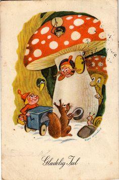 Vintage postcard: Gladelig Jul flesonpostkort.com