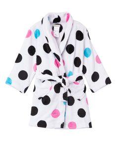 Look what I found on #zulily! White & Black Polka Dot Robe - Girls #zulilyfinds