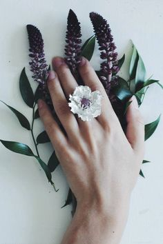 Large flower ring with rough ruby - poppy ring