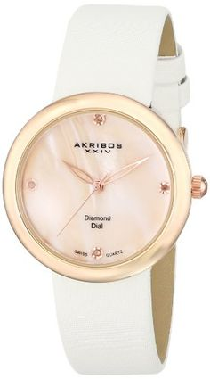 bed67182416 Akribos XXIV Women s AK687RGW Impeccable Swiss Quartz Diamond  Mother-of-Pearl Satin Strap Watch