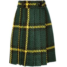 Miu Miu Pleated plaid wool and cotton-blend bouclé-tweed skirt (€2.110) ❤ liked on Polyvore featuring skirts, miu miu, green, knee length pleated skirt, tartan pleated skirt, green skirt, tweed skirt and wool plaid skirt