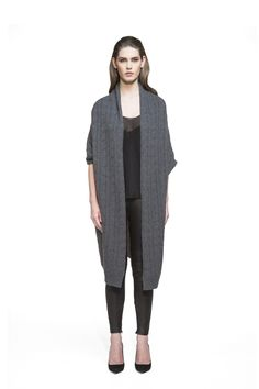 Maxi Cardigan - Jackets & Cardigans - Shop - A cold weather staple, this oversized cardigan is designed to be both flattering and cozy with its cable-knit pattern and ¾ sleeves. Spun from high quality cashmere, this is a truly chic way to update all your off-duty looks this season. Layer it over sweaters for a feeling of warmth and wellbeing.