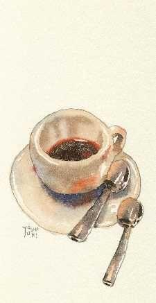 Coffee Illustration, Watercolor Illustration, Coffee Cup Art, Tea Bag Art, Food Sketch, Coffee Theme, Food Painting, Food Drawing, Food Humor