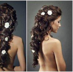 Curly half wedding updo