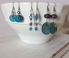 Shades of Blue and Teal Dangle Earrings on Etsy, $20.00