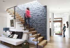 like the treatment on the stairwell wall....will hide all the scratches from moving furniture up and down....like the stair-rail too!