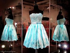Dance the night away in this fabulous short lacey dress. Its lace bodice features a straight neckline which makes it appropriate for all ages. A satin waistband separates the full skirt with lacey accents. This is a ONE OF A KIND dress! So pretty and ONLY at Rsvp Prom and Pageant, Atlanta, GA
