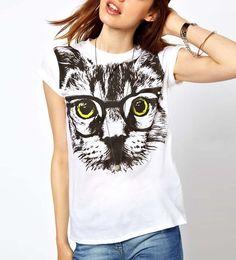 $24.99 White Cat Glasses Print Hot T-shirt @ MayKool.com