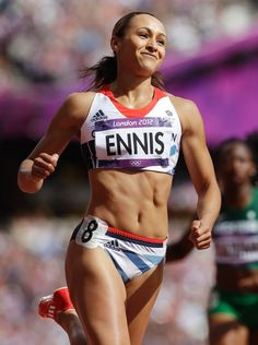 Jessica Ennis smiles after winning her hurdles heat of the Women's Heptathlon Jessica Ennis Hill, Jess Ennis, Heptathlon, Olympic Champion, Sports Images, High Jump, Sporty Girls, Athletic Women, Athletic Body