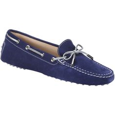 Tod's Blue Suede Boat Stitched Driving Loafers (389340701) ($299) ❤ liked on Polyvore featuring shoes, loafers, blue, suede shoes, blue color shoes, metallic shoes, blue shoes and tods shoes