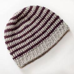Basic Striped Hat, free crochet pattern   www.petalstopicots.com   #crochet #pattern #hat