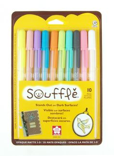 Sakura 58350 10-Piece Blister Card Souffle Assorted Color 3-Dimensional Opaque Ink Pen Set...art journaling