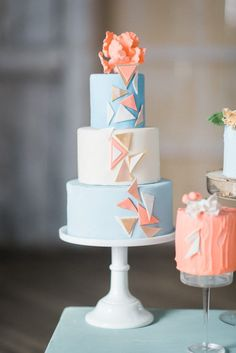 Pretty Pastel Wedding Cakes for Your Spring Wedding | A cake laden with geometric decor ideas has never been quite as popular as it is right now. For a more contemporary look try incorporating your pastel palette into modern structures on your dessert.