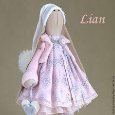Нежная зайка Lian - 39 см - бледно-розовый,нежно-розовый,игрушка ручной работы