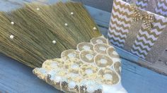 Gold Sequin Wedding Jumping Broom by BroomsBasketsNBrides on Etsy