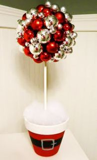 absolutely genius idea, painted santa pot with a smaller styrofoam ball inside, a thin sturdy white rod inserted into a larger styrofoam that has ornaments glued on. love love love this!