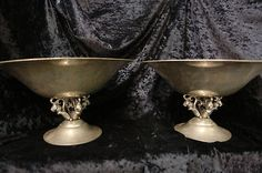 1928 Just Andersen Hand Hammered Pewter Denmark Compotes Lot of 2 Art Deco Bowls
