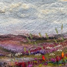 #feltartist (c) Lynn Comley UpandDownDale see me on Instagram : UpandDownDale for WIP, inspiration behind my work Mixed Media Artwork, Mixed Media Artists, Felt Pictures, North Yorkshire, Wet Felting, Textile Artists, Fabric Art, Landscape, Painting
