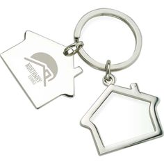 House Shaped Key Ring EK1024 - Split ring featuring two house shapes, one solid, one outline, with a shiny nickel finish. #propelpromo