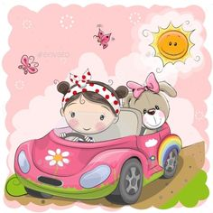Imagens, fotos stock e vetores similares de Illustration with cute baby elephant driving a sport car hand drawn cartoon. Can be used for baby t-shirt print, fashion print design, kids wear, baby shower celebration greeting and invitation card. Cartoon Cartoon, Cute Cartoon Drawings, Cute Cartoon Girl, Cartoon Photo, Cartoon Profile Pictures, Cartoon Characters, Teddy Bear Pictures, Cute Clipart, Cute Stickers