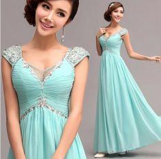 blue chiffon long Evening Dresses 2014 Romantic High quality Crystal v-neck prom dresses new fashion 2013 .  328 $79.99