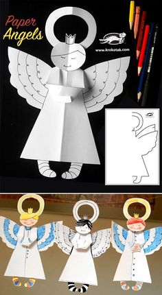 Paper Angels - Christmas paper craft for kids Christmas Angel Crafts, Kids Christmas Ornaments, Christmas Paper, Christmas Projects, Holiday Crafts, Christmas Decorations, July Crafts, Birthday Decorations, Christmas Activities