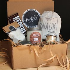 Camping Gift Box / Camping Lovers Gift / Outdoor Lovers Gift / Birthday Gift for Man / Holiday Gift for Man /  / Father's Day Gift / Man Box by ConfettiGiftCompany on Etsy